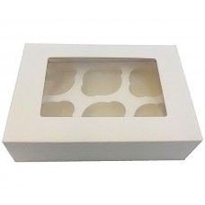 Cupcake Box with Lid Attached 6 Holes Pk 100