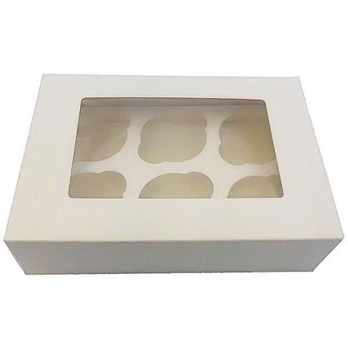 Cupcake Box with Lid Attached 6 Holes Pk 25