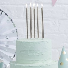 Candles Tall Cake Silver White 12Pk