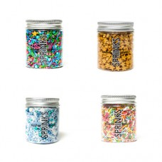 MERMAID OCEAN MIX Sprinkles 4 Pack Rainbow Jimmies, Ocean Blue, Mermaid Melody and SGold Stars by Sprinks