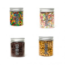 PARTY MIX Sprinkles 4 Pack Confetti, Rainbow Jimmies, Chocolate Jimmies and Gold Stars by Sprinks