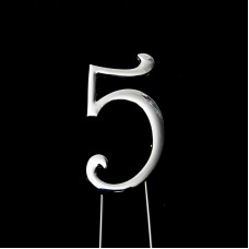 Cake Topper Number Silver 5