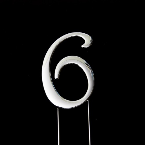 Cake Topper Number Silver 6