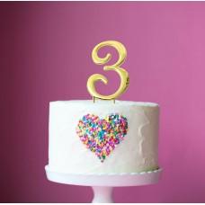 Cake Topper Number Gold 3