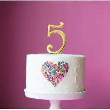 Cake Topper Number Gold 5