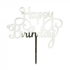 Cake Topper Happy Birthday Acrylic Swirl Silver